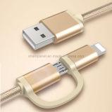 2 em 1 nylon trançaram o cabo da sincronização da carga do USB para o micro e o telefone do Ios