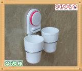 Support fixé au mur de brosse à dents de culbuteur de double de salle de bains avec la cuvette d'aspiration