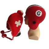 Neuer Computer-Abdeckstreifen, der die roten und weißen Jungen-Mädchen-Winter Earflap Hüte strickt