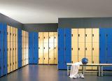 ベンチと使用される3つのドアの更衣室のロッカー