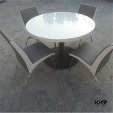 Acrílico superficie sólida redondas mesas de comedor con sillas para restaurante