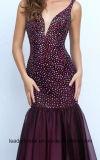Платья вечера St11324 кристаллический вина Мантии Vestidos De Фиесты Серебра партии выпускного вечера шифоновые
