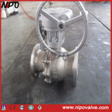 Cast Steel Flanged Tourillon Ball Valve avec Worm Box