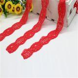 Testi fissi floreali rossi del merletto del ricamo con cavo per l'indumento Accesssories