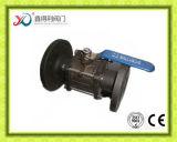 Vávula de bola del borde Pn40 de la fábrica 3PC de China con el postizo de montaje