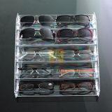 Acrílico desobstruído 4, 5, carrinho de indicador de 6 vidros dos óculos de sol do Eyeglass da série