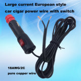 LED rosso Switch 12V/24V Auto Power Plug Cable con 10A Current