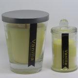 Vela de cristal del lujo del tarro perfumado al por mayor de la vela con la tapa del metal