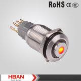 ISO9001 interruptor iluminado 16m m del redondo LED de la UL Hbasn alto