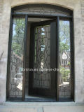 Traditional Arc Top Wrought Iron Single Entrance Door with Side Lights