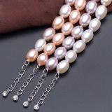 riso AAA di 8-9mm con il braccialetto d'acqua dolce bianco della perla del catenaccio dell'argento sterlina 925