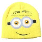 Les enfants imprimés par dessin animé fait sur commande chauffent le chapeau brodé tricoté acrylique de Beanie barré par hiver