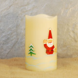 Sostenedor de vela de la impresión LED de la mano con los árboles, vela de la Navidad LED