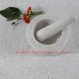 Каменные белые мраморный ступка и пестик /Herb и инструмент специи