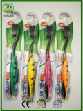 Balck Brislte glänzende gehen Karten-Satz-Qualitäts-erwachsene Zahnbürste-heiße Verkäufe mit Zunge-Reinigungsmittel innen zurück voran