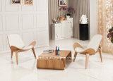 余暇の合板の革ChaiseのラウンジのハンズWegnerのシェルの椅子