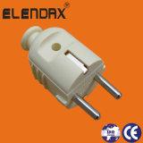 Plugue elétrico elétrico de 2 pinos em forma reta de estilo europeu (P7053)