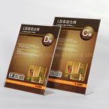 Porte-cartes acrylique de menu avec la taille A4/A5/A6