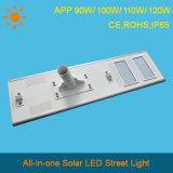 Angeschaltenes integriertes Solarstraßenlaternesolar der APP-Serien-100%