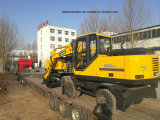China Excavadora de ruedas pequeñas con cazo de agarre