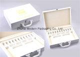 Caixa de empacotamento cosmética portátil personalizada do plutônio do couro gama alta com bandeja de EVA