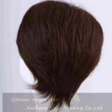 Pelucas indias femeninas cortas del pelo humano de Brown