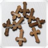 Weihnachtsheißes stempelndes silberne Tintejesus-hölzernes Kreuz (IO-cw036)
