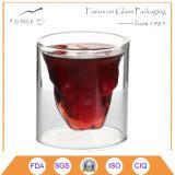 200ml二重壁の頭骨の小グラスのワイングラス