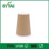 Tazza calda stampata abitudine a gettare della carta kraft del caffè della parete dell'ondulazione