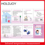 Termômetro infravermelho da testa Non-Contact, escala: 35° C~43° C, com indicador do LCD do luminoso - branco + azul (bateria de 2 X AAA)