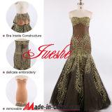 Vestido de noite da sereia do bordado da rede/tafetá/vestido quente do baile de finalistas (6062)