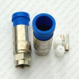 Rg11 cabo coaxial impermeável do RF do conetor masculino da compressão F