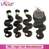 編む驚かせる100%のブラジルのバージンの人間の毛髪および閉鎖