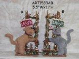 Gato de la Navidad y decoración del hogar Perro en la cerca de madera-2asst.
