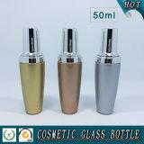 косметические стеклянные бутылки лосьона 50ml с серебряной крышкой насоса