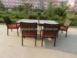 7 pièces Table en céramique Ensemble à manger en aluminium Meuble en rotin extérieur