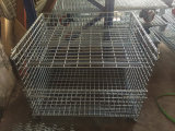 Scomparto del pallet della maglia del filo di acciaio di memoria del magazzino con le rotelle