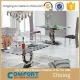 品質の金属が付いている2016現代上のガラスダイニングテーブル