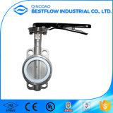 Válvula de borboleta da bolacha do aço inoxidável do fabricante de China com alavanca da mão/engrenagem de sem-fim