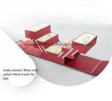 MDFの革正方形の形のFoldableワインレッドのボックス