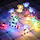 Notes de musique Lampes à rayons LED Lumières décoratives pour les parties de patio à la chambre Blanc chaud