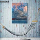 Pittura a olio astratta blu della stampa della tela di canapa