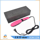 La visualización automática del LCD del mundo calentó el pelo eléctrico que enderezaba el peine de la enderezadora del pelo del cepillo