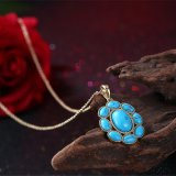 Juwelen van de Manier van de Halsband van de Halsband van het Koper van de Halsband van Pendnat van de Vorm van de Bloem van de Halsband van de Tegenhanger van Kallaite de Populaire Materiële Zwarte Kanon Geplateerde