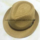 100% sombrero de paja, estilo del sombrero de ala de la manera con la decoración de la venda para los hombres