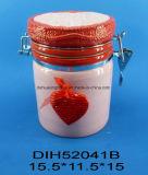 Scatola metallica chiusa ermeticamente di ceramica dipinta a mano con la decorazione del cuore