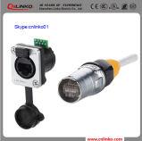 Soquete da montagem do painel do tipo IP65 RJ45 Connnector de China Cnlinko com tampa protetora contra poeira