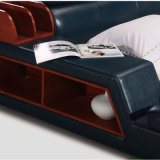 침실 사용 (FB8142)를 위한 파란 색깔 가죽 침대