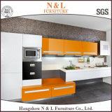 Gabinete de cozinha de móveis de madeira lacada de alto brilho