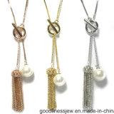 Form-Damen 925 silberne CZ-Steine und Perlen-lange Halskette (N6818)